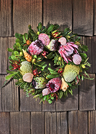 Fresh Protea & Sea Shell Wreath